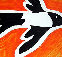 Magpie original painting by CrowRisingMedia