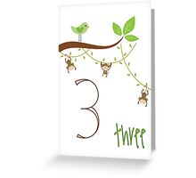 3 Year Old Monkeys Greeting Card