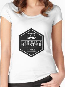 Leather Engraved - I am not a Hipster 100% Guaranteed Women's Fitted Scoop T-Shirt