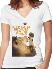 Lion Keep Calm Women's Fitted V-Neck T-Shirt