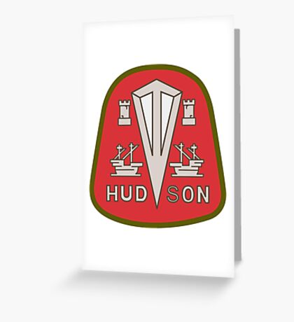 Hudson classic automobiles red logo remake Greeting Card