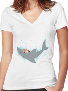 Shark Flower Crown Women's Fitted V-Neck T-Shirt