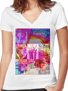 club d' amour Women's Fitted V-Neck T-Shirt