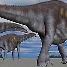Three Argentinosaurus by Walter Colvin