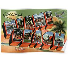 Fifties style Greetings from Miami Beach Poster