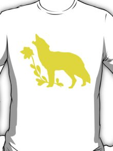 Yellow Howling Wolf Silhouette T-Shirt