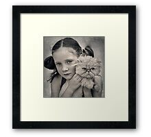 A Girl and her Cat Framed Print