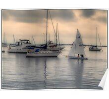 Sailboats Port Jefferson Harbor Poster