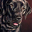 """Signature Grin"" Portrait Of A Black Lab by Susan Bergstrom"