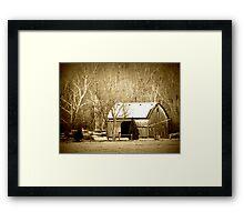 Snowy Barn sepia tone winter rustic country decor Framed Print