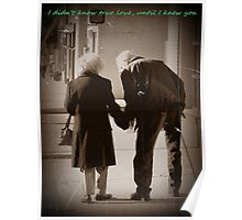 True Love inspirational wedding anniversary gift photography old couple holding hands Poster