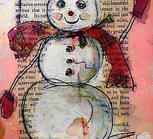 Snowman with Red Hat and Scarf by Claire Bull