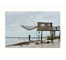 Carrelets in Port des Barques, Charente Maritime, France, atlantic coast Art Print