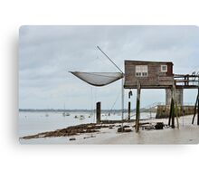 Carrelets in Port des Barques, Charente Maritime, France, atlantic coast Canvas Print
