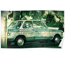 Vintage Blue BMW rustic antique car photography Poster