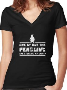 One by One Penguins are Stealing my Sanity Women's Fitted V-Neck T-Shirt