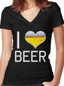 I Love Beer Women's Fitted V-Neck T-Shirt