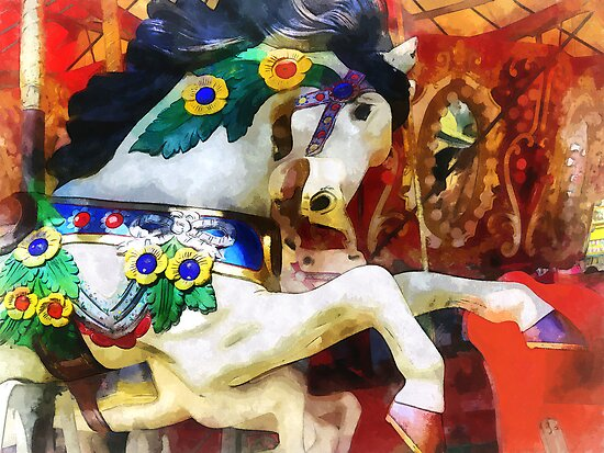 Carousel Horse Closeup by Susan Savad