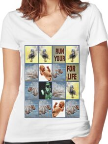 run for your life Women's Fitted V-Neck T-Shirt