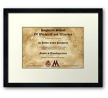 Official Hogwarts Diploma Poster - Transfiguration Framed Print