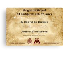 Official Hogwarts Diploma Poster - Transfiguration Canvas Print