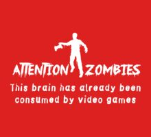 Attention Zombies. Brain Consumed by Video Games One Piece - Short Sleeve