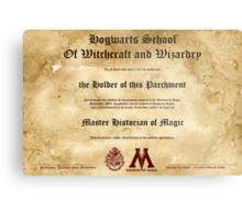 Official Hogwarts Diploma Poster - History of Magic Metal Print