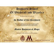 Official Hogwarts Diploma Poster - History of Magic Photographic Print