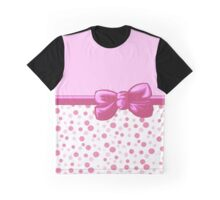 Ribbon, Bow, Dots, Spots (Dotted Pattern) - Pink White Graphic T-Shirt