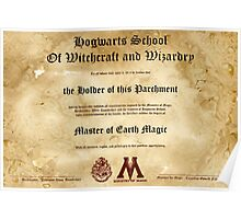 Official Hogwarts Diploma Poster - Earth Magic Poster