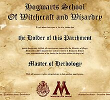 Official Hogwarts Diploma Poster - Herbology by eaaasytiger