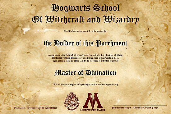 Official Hogwarts Diploma Poster - Divination by eaaasytiger