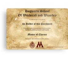 Official Hogwarts Diploma Poster - Charms Metal Print