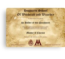 Official Hogwarts Diploma Poster - Charms Canvas Print
