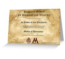Official Hogwarts Diploma Poster - Astronomy Greeting Card