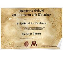 Official Hogwarts Diploma Poster - Alchemy Poster
