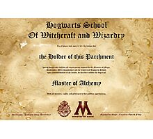 Official Hogwarts Diploma Poster - Alchemy Photographic Print