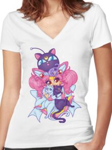 Sailor Mini Moon & Space Kitties Women's Fitted V-Neck T-Shirt