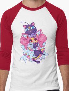 Sailor Mini Moon & Space Kitties Men's Baseball ¾ T-Shirt