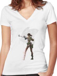 Silent Mercenary Women's Fitted V-Neck T-Shirt