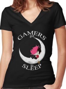 Gamers Got To Sleep (moon edition) Women's Fitted V-Neck T-Shirt