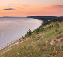Pink Sunset on Sleeping Bear Dunes from Empire Bluff by DArthurBrown