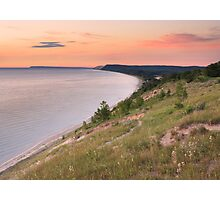 Pink Sunset on Sleeping Bear Dunes from Empire Bluff Photographic Print