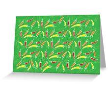 Chilli, chillies in colors with green background Greeting Card