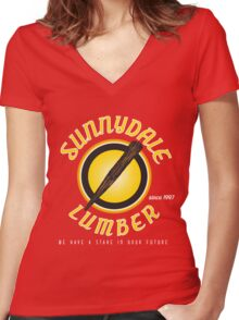 Sunnydale Lumber Women's Fitted V-Neck T-Shirt