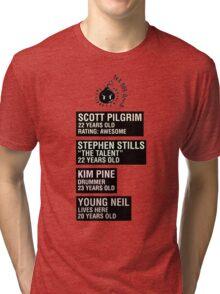 Scott Pilgrim - Sex Bob Omb Name Cards Tri-blend T-Shirt