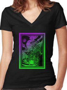 **** PSYCHEDELIC SPACE OX **** Women's Fitted V-Neck T-Shirt