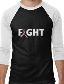 Fight Ribbon for Breast Cancer Men's Baseball ¾ T-Shirt