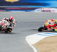Marco Simoncelli and Valentino Rossi at laguna seca 2011 by corsefoto