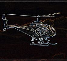 Neon Helicopter, in Flight by Kim Krause